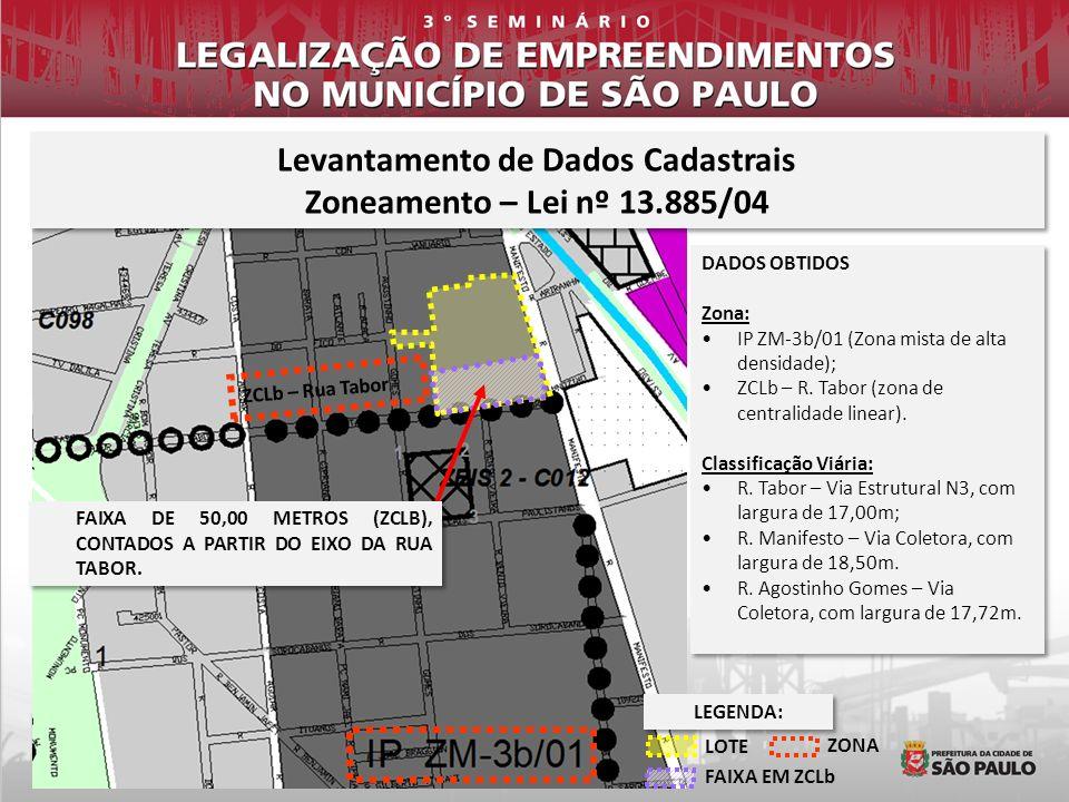 Levantamento de Dados Cadastrais Zoneamento – Lei nº 13.885/04 Levantamento de Dados Cadastrais Zoneamento – Lei nº 13.885/04 DADOS OBTIDOS Zona: IP Z