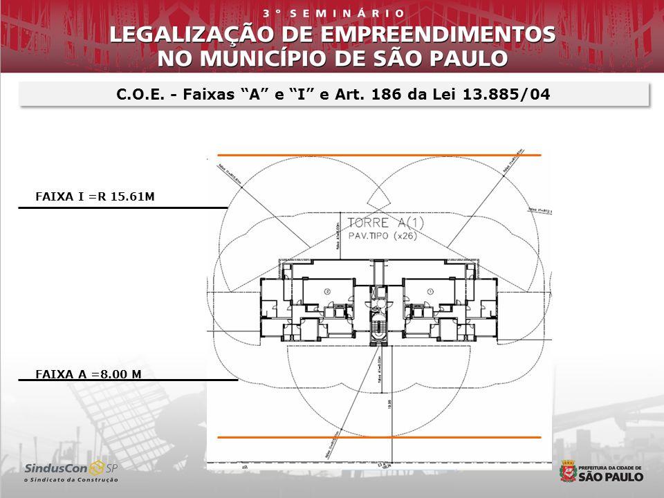 C.O.E. - Faixas A e I e Art. 186 da Lei 13.885/04 FAIXA I =R 15.61M FAIXA A =8.00 M