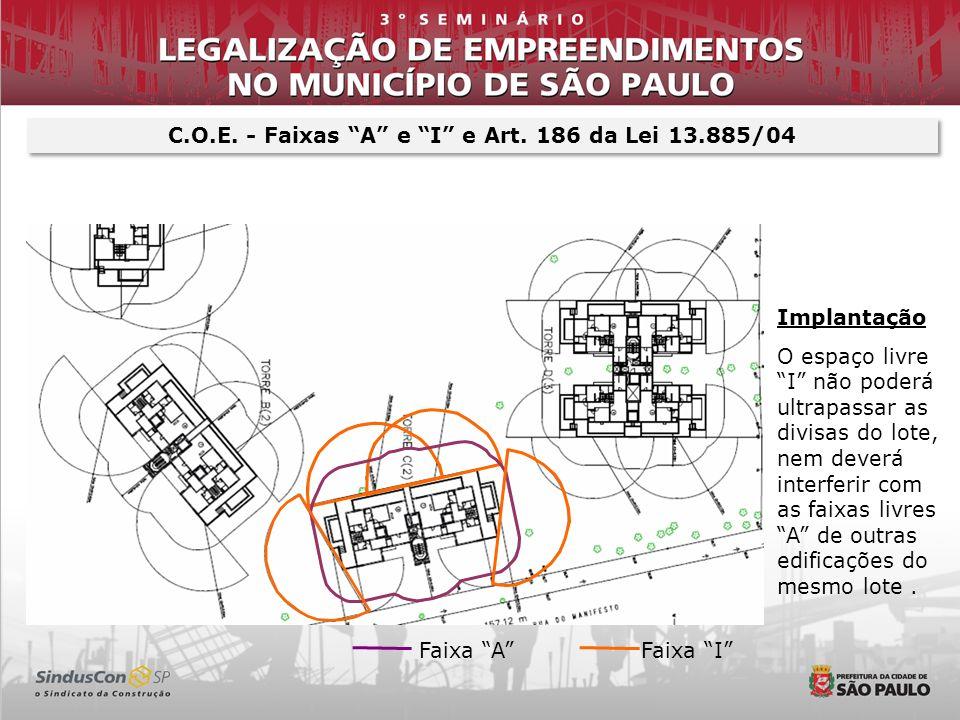 C.O.E. - Faixas A e I e Art. 186 da Lei 13.885/04 Implantação O espaço livre I não poderá ultrapassar as divisas do lote, nem deverá interferir com as