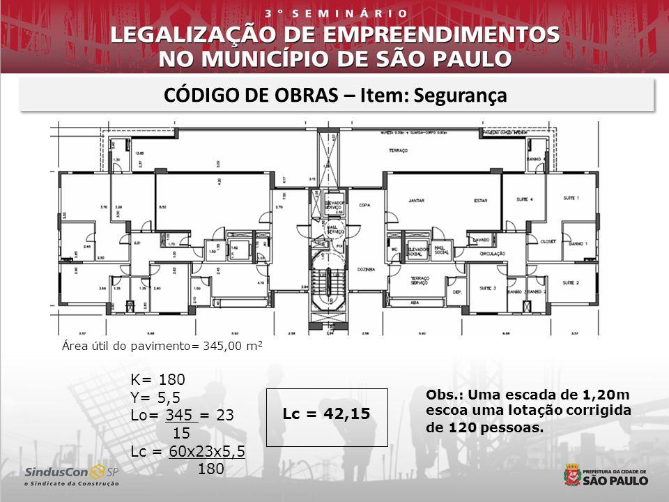 Lc = 42,15 CÓDIGO DE OBRAS – Item: Segurança Área útil do pavimento= 345,00 m 2 K= 180 Y= 5,5 Lo= 345 = 23 15 Lc = 60x23x5,5 180 Obs.: Uma escada de 1