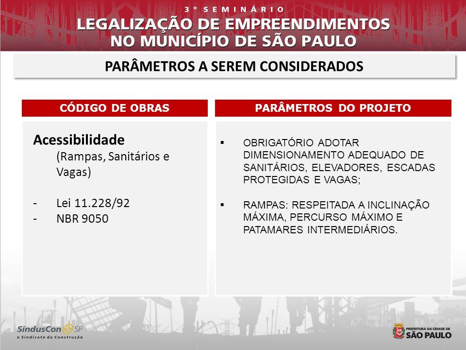 Acessibilidade (Rampas, Sanitários e Vagas) -Lei 11.228/92 -NBR 9050 OBRIGATÓRIO ADOTAR DIMENSIONAMENTO ADEQUADO DE SANITÁRIOS, ELEVADORES, ESCADAS PR