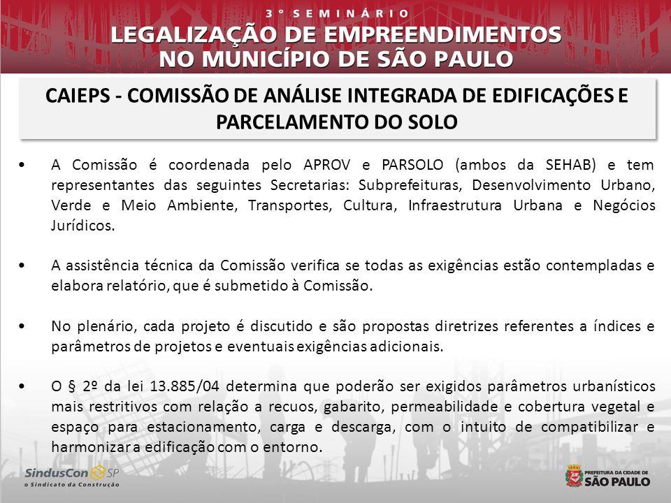 A Comissão é coordenada pelo APROV e PARSOLO (ambos da SEHAB) e tem representantes das seguintes Secretarias: Subprefeituras, Desenvolvimento Urbano,