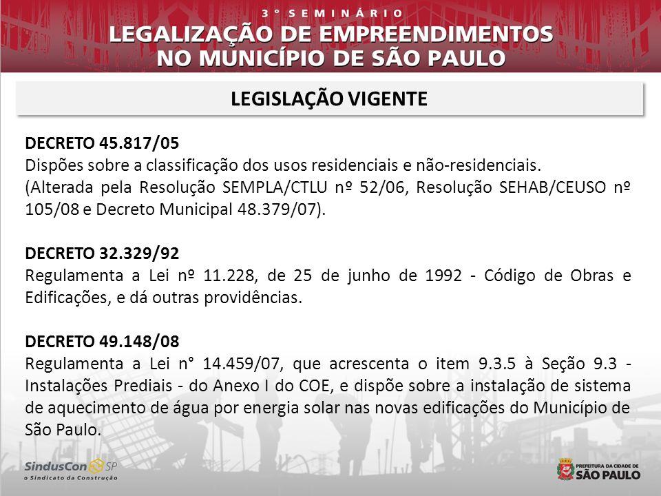 LEGISLAÇÃO VIGENTE DECRETO 45.817/05 Dispões sobre a classificação dos usos residenciais e não-residenciais. (Alterada pela Resolução SEMPLA/CTLU nº 5