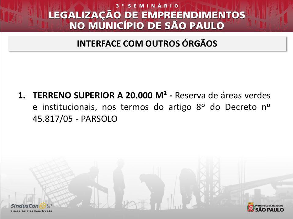INTERFACE COM OUTROS ÓRGÃOS 1.TERRENO SUPERIOR A 20.000 M² - PARSOLO; 2.POLO GERADOR DE TRÁFEGO – SMT; 3.EMPREENDIMENTO GERADOR DE IMPACTO DE VIZINHANÇA – SVMA; 4.SUSPEITA DE CONTAMINAÇÃO – DECONT; 5.MANEJO ARBÓREO – DEPAVE – SVMA; 6.ALTURA TOTAL DO EMPREENDIMENTO – COMAR; 7.EMPREENDIMENTO CLASSIFICADO COMO nR3 – CAIEPS E CTLU; 8.COMPRA DE POTENCIAL CONSTRUTIVO – Depende de certidão de pagamento de outorga onerosa – SMDU;