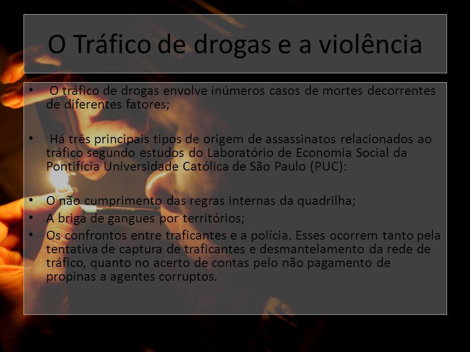 O Tráfico de drogas e a violência O tráfico de drogas envolve inúmeros casos de mortes decorrentes de diferentes fatores; Há três principais tipos de
