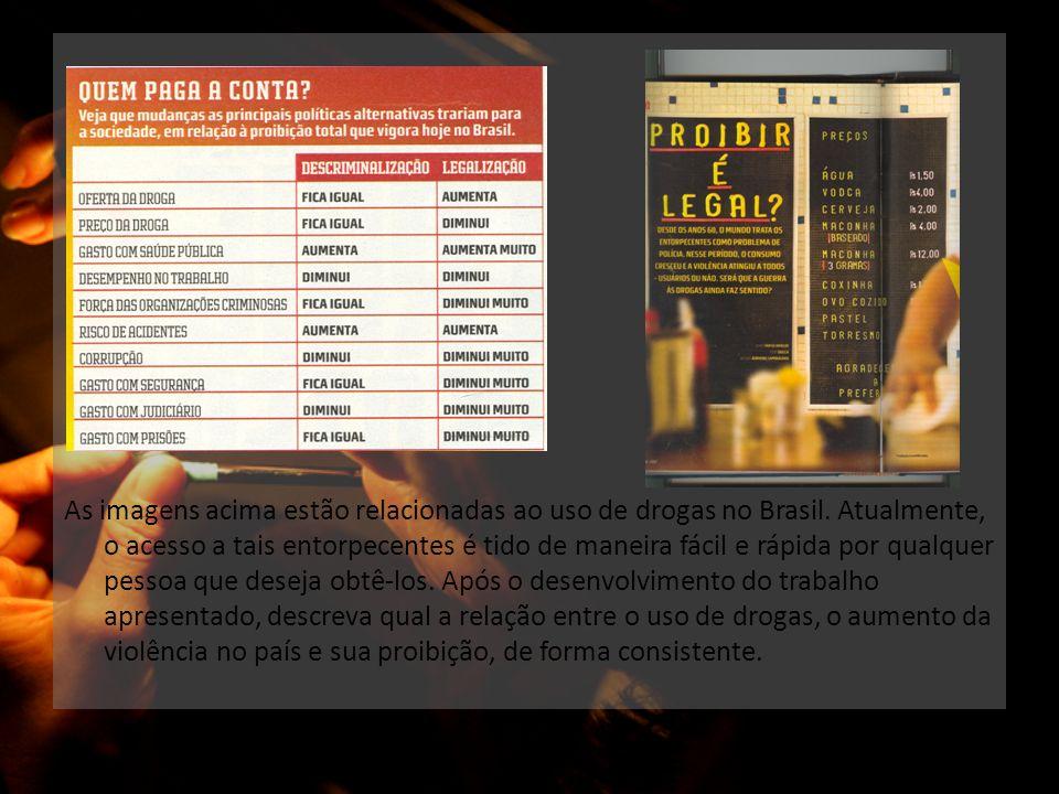 As imagens acima estão relacionadas ao uso de drogas no Brasil. Atualmente, o acesso a tais entorpecentes é tido de maneira fácil e rápida por qualque