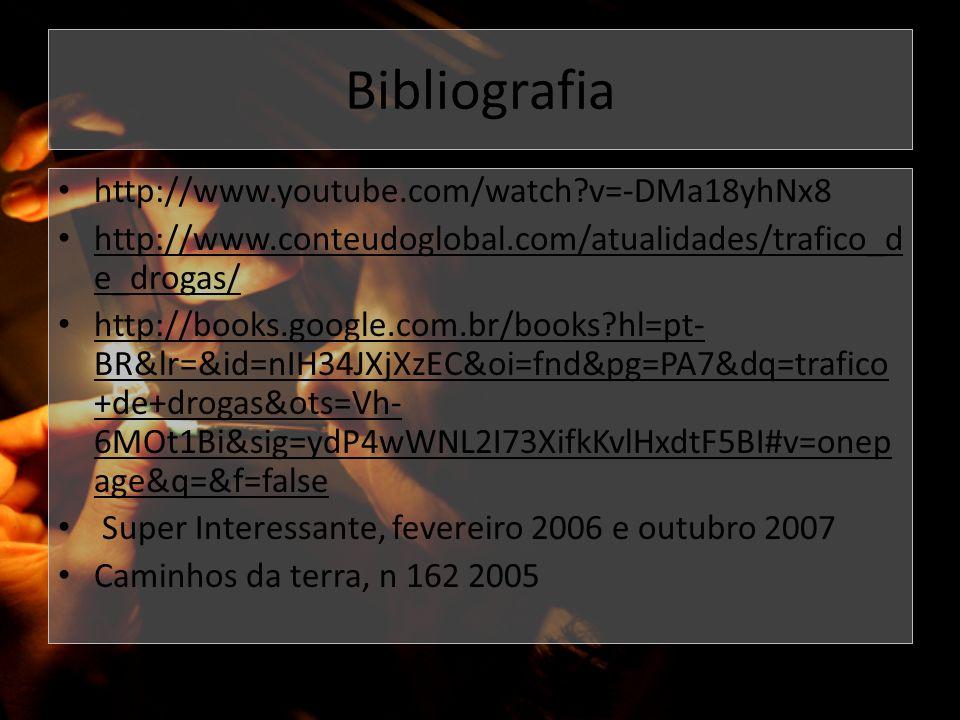 Bibliografia http://www.youtube.com/watch?v=-DMa18yhNx8 http://www.conteudoglobal.com/atualidades/trafico_d e_drogas/ http://books.google.com.br/books