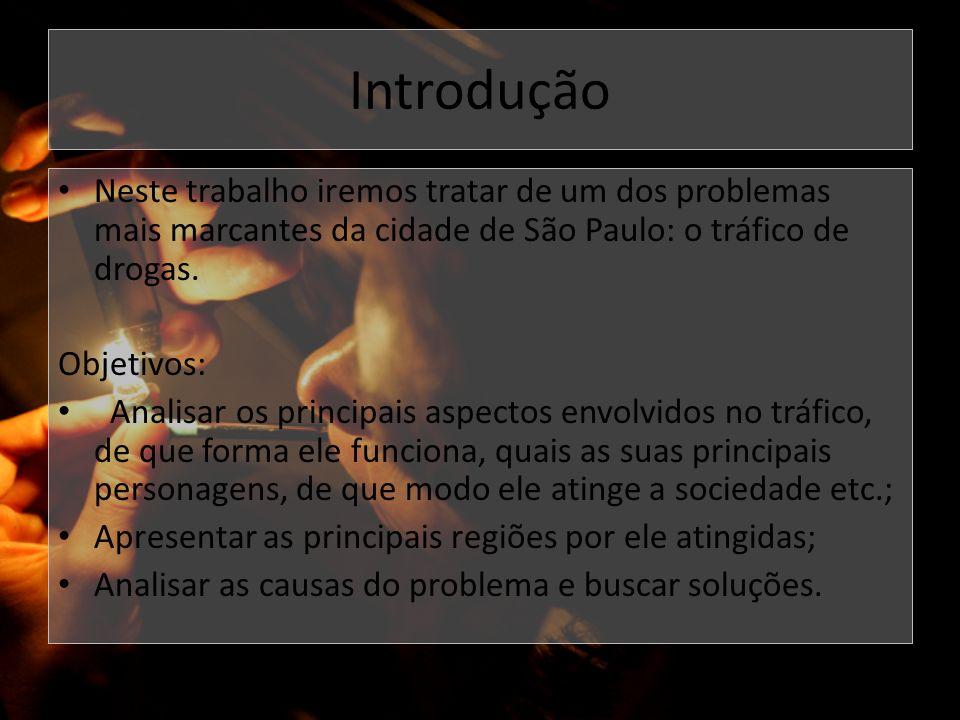 Introdução Neste trabalho iremos tratar de um dos problemas mais marcantes da cidade de São Paulo: o tráfico de drogas. Objetivos: Analisar os princip