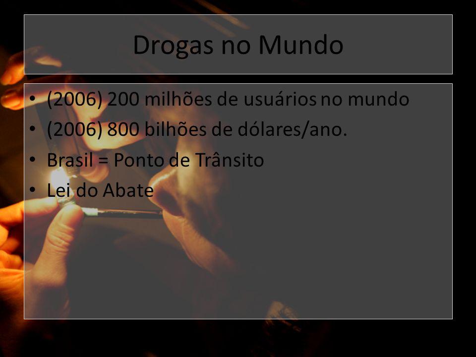 Drogas no Mundo (2006) 200 milhões de usuários no mundo (2006) 800 bilhões de dólares/ano. Brasil = Ponto de Trânsito Lei do Abate