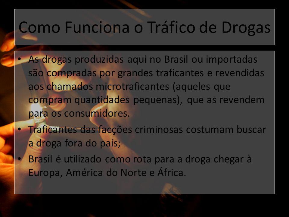 Como Funciona o Tráfico de Drogas As drogas produzidas aqui no Brasil ou importadas são compradas por grandes traficantes e revendidas aos chamados mi