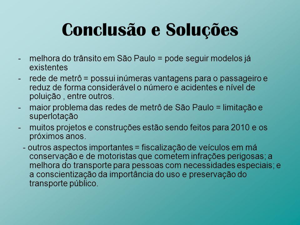 Conclusão e Soluções -melhora do trânsito em São Paulo = pode seguir modelos já existentes -rede de metrô = possui inúmeras vantagens para o passageir