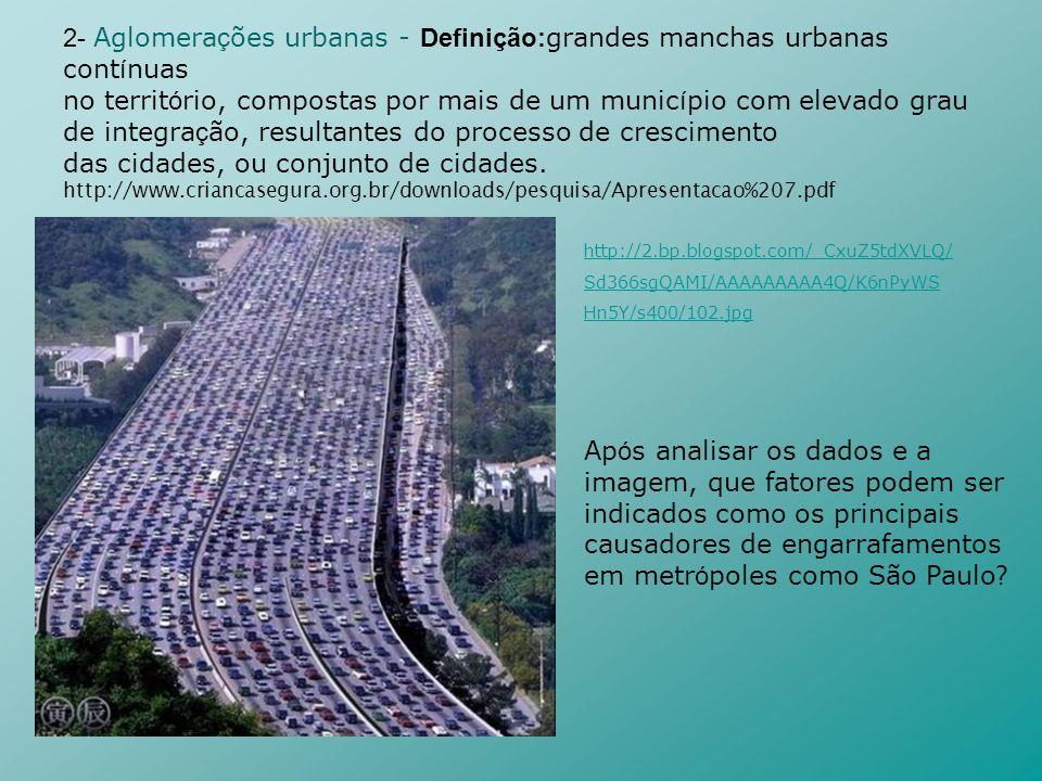 2- Aglomera ç ões urbanas - Definição: grandes manchas urbanas cont í nuas no territ ó rio, compostas por mais de um munic í pio com elevado grau de i
