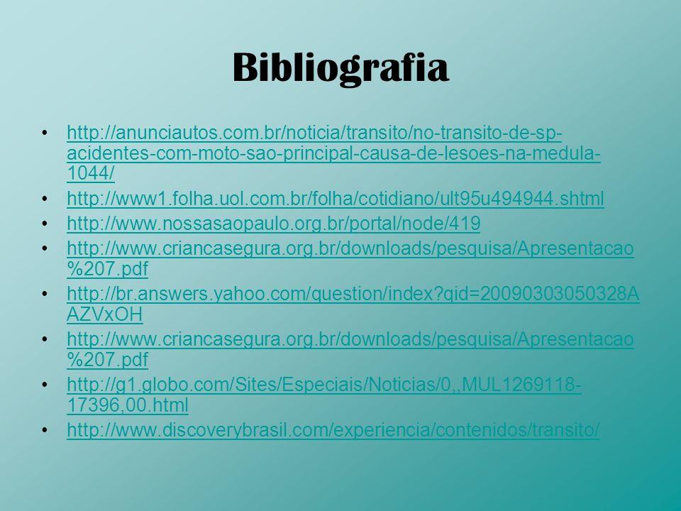 Bibliografia http://anunciautos.com.br/noticia/transito/no-transito-de-sp- acidentes-com-moto-sao-principal-causa-de-lesoes-na-medula- 1044/http://anu