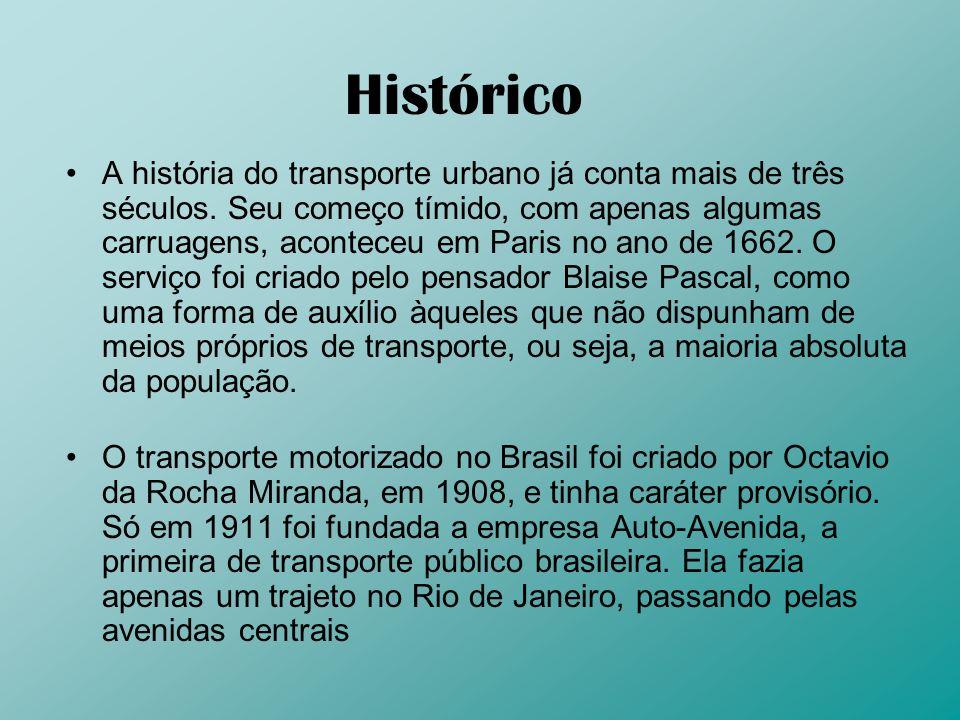 Histórico A história do transporte urbano já conta mais de três séculos. Seu começo tímido, com apenas algumas carruagens, aconteceu em Paris no ano d