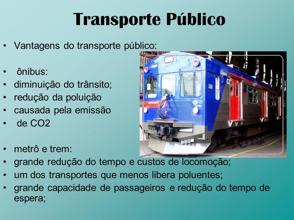Transporte Público Vantagens do transporte público: ônibus: diminuição do trânsito; redução da poluição causada pela emissão de CO2 metrô e trem: gran