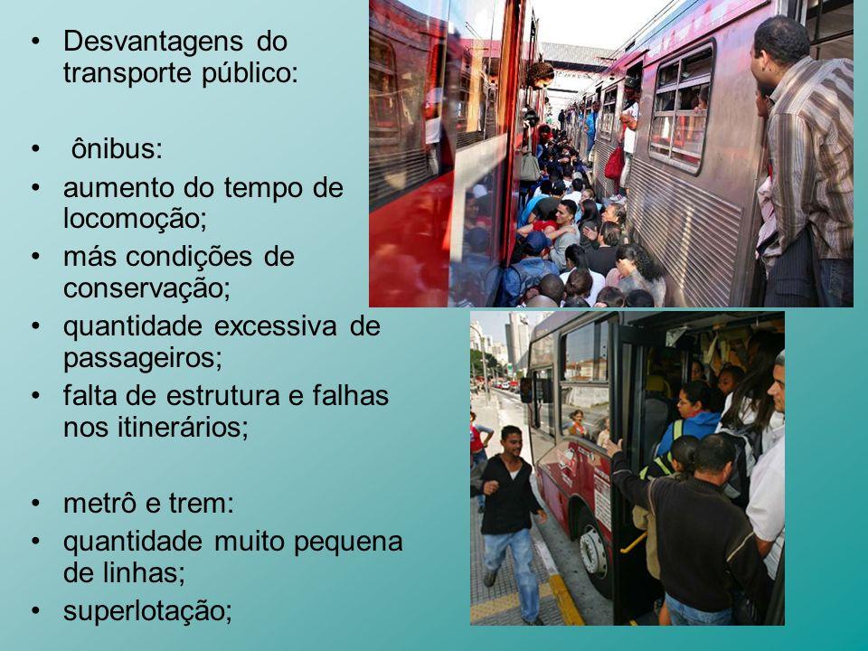 Desvantagens do transporte público: ônibus: aumento do tempo de locomoção; más condições de conservação; quantidade excessiva de passageiros; falta de