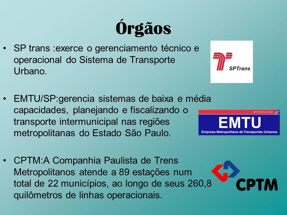 Órgãos SP trans :exerce o gerenciamento técnico e operacional do Sistema de Transporte Urbano. EMTU/SP:gerencia sistemas de baixa e média capacidades,