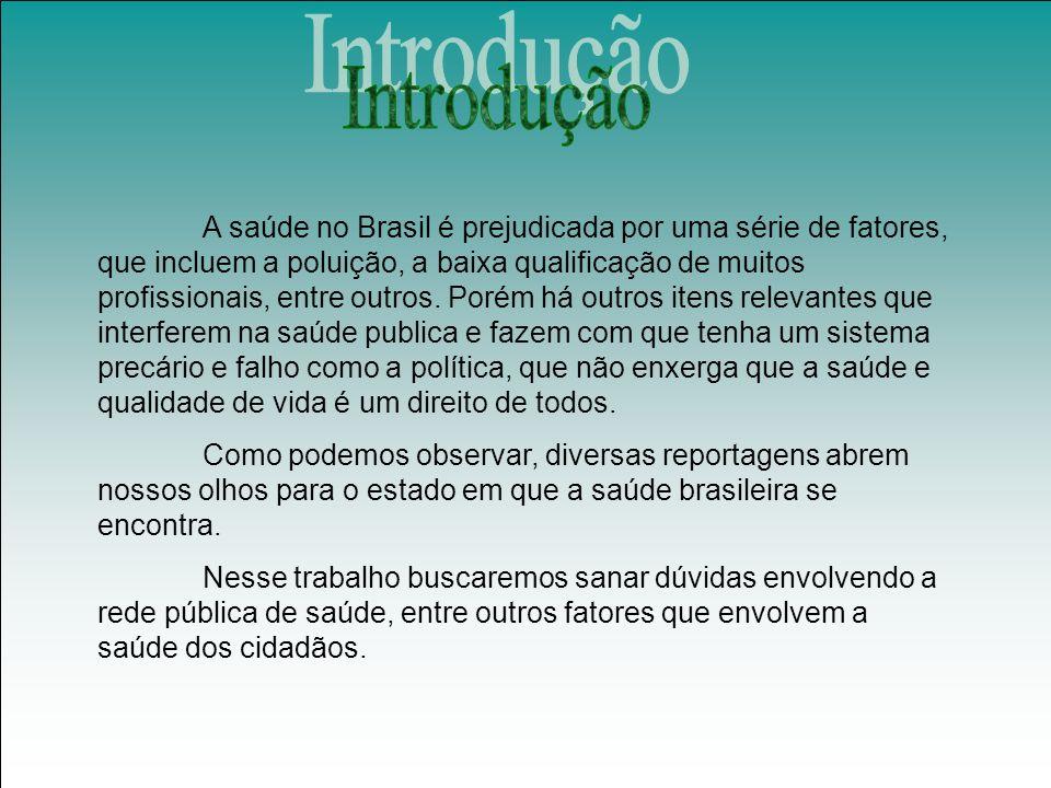 A saúde no Brasil é prejudicada por uma série de fatores, que incluem a poluição, a baixa qualificação de muitos profissionais, entre outros.