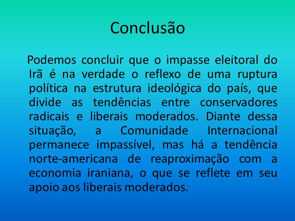 Conclusão Podemos concluir que o impasse eleitoral do Irã é na verdade o reflexo de uma ruptura política na estrutura ideológica do país, que divide a