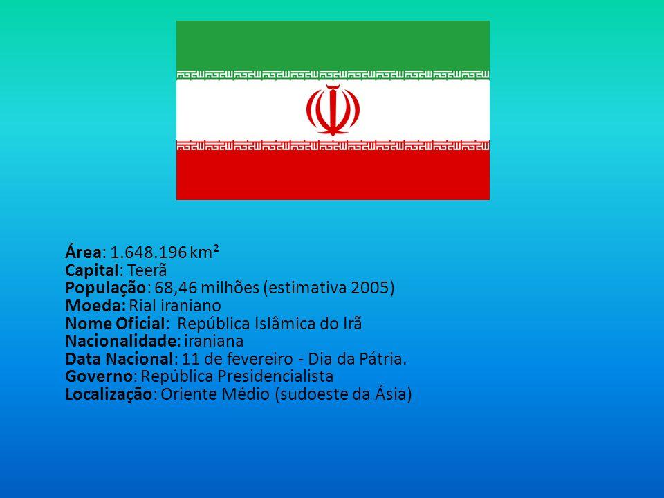 Área: 1.648.196 km² Capital: Teerã População: 68,46 milhões (estimativa 2005) Moeda: Rial iraniano Nome Oficial: República Islâmica do Irã Nacionalida