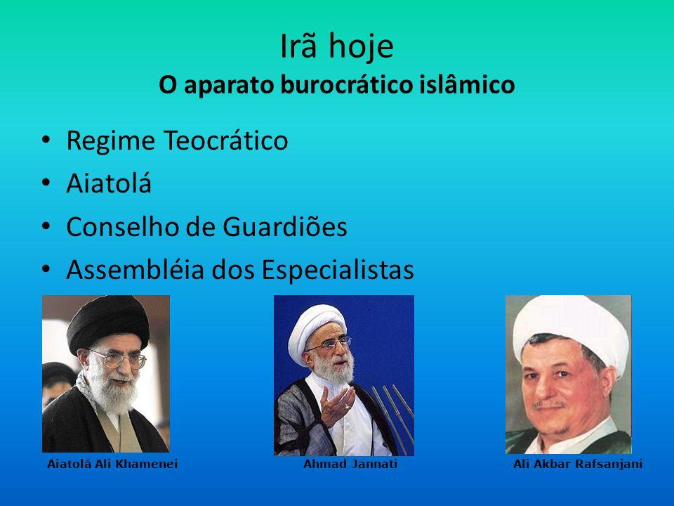 Irã hoje O aparato burocrático islâmico Regime Teocrático Aiatolá Conselho de Guardiões Assembléia dos Especialistas Aiatolá Ali Khamenei Ahmad Jannat