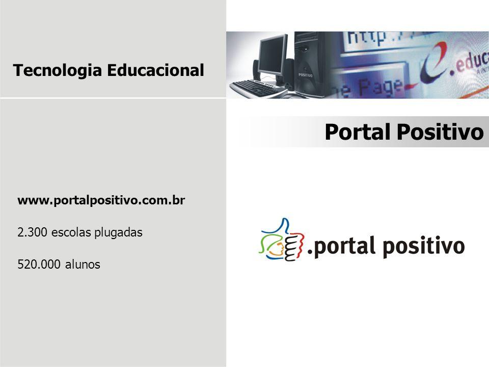 www.portalpositivo.com.br 2.300 escolas plugadas 520.000 alunos Portal Positivo Tecnologia Educacional