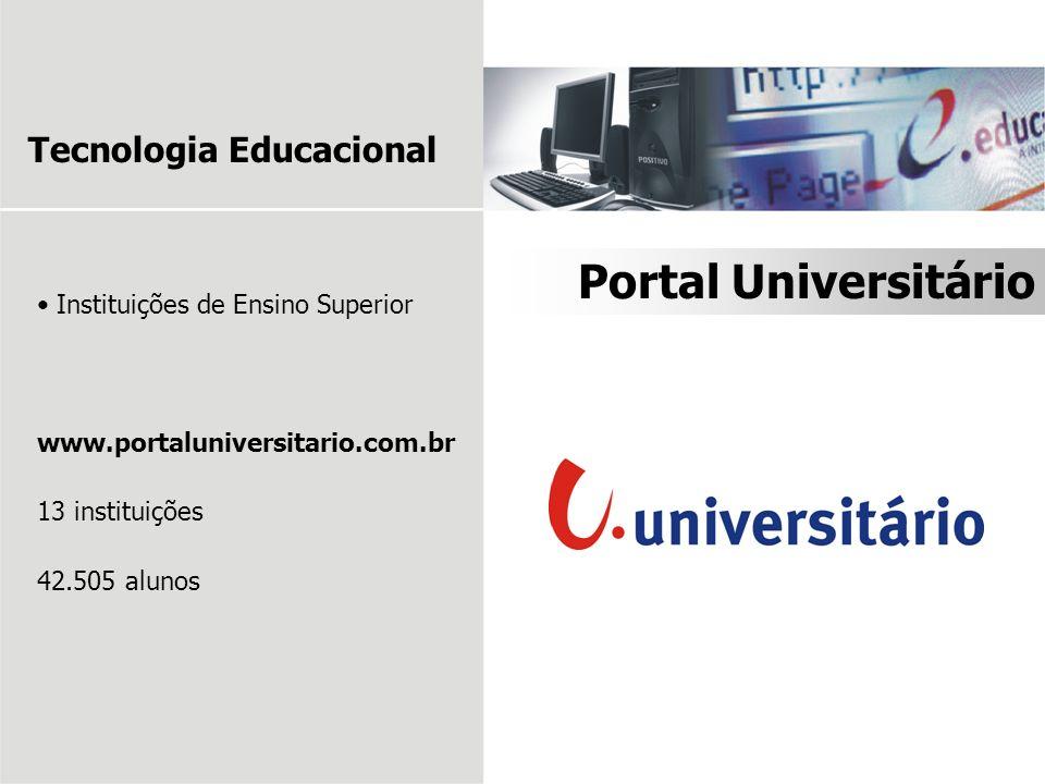 Instituições de Ensino Superior www.portaluniversitario.com.br 13 instituições 42.505 alunos Portal Universitário Tecnologia Educacional
