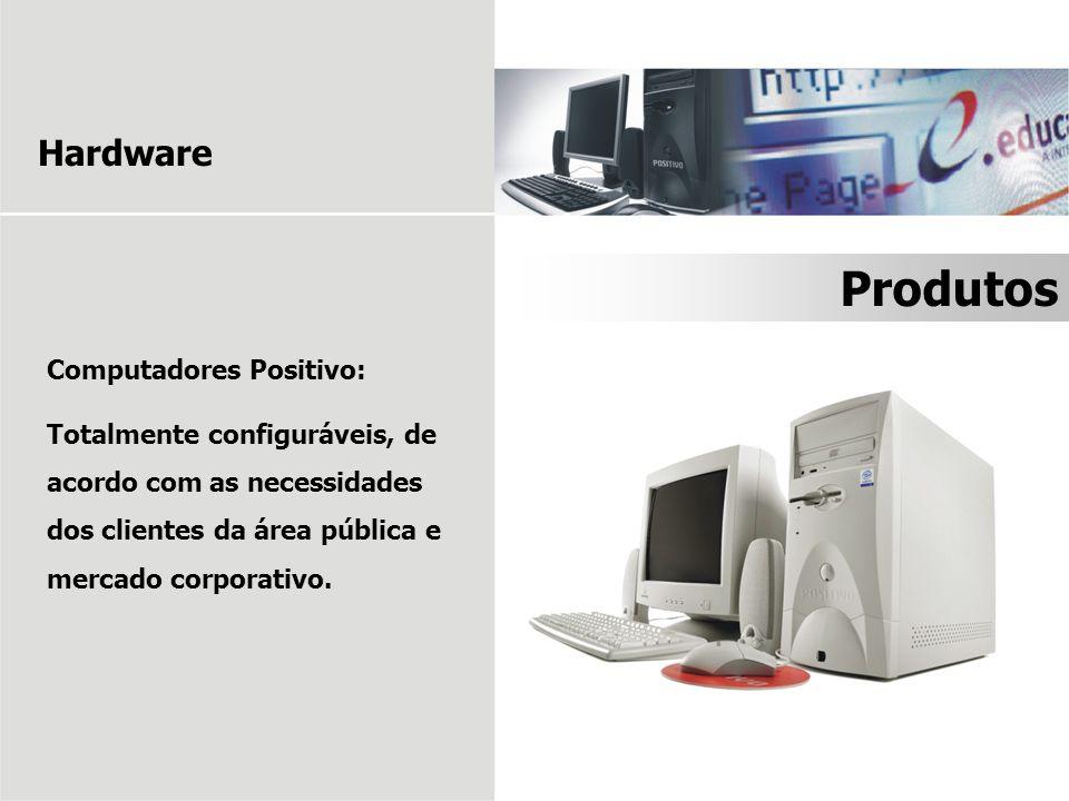 Computadores Positivo: Totalmente configuráveis, de acordo com as necessidades dos clientes da área pública e mercado corporativo. Produtos Hardware