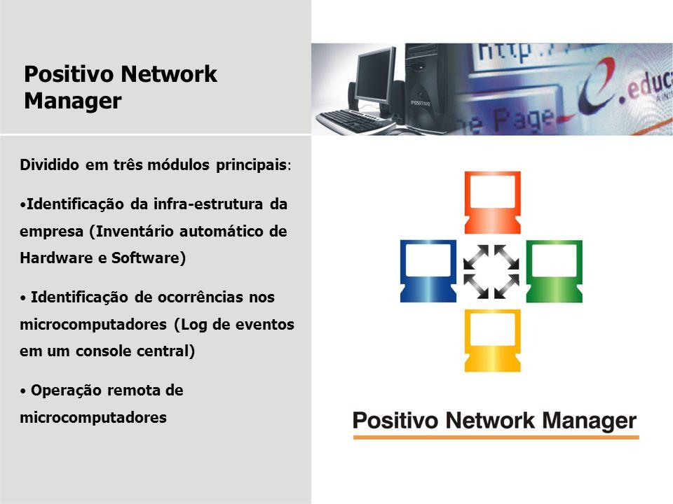 Positivo Network Manager Dividido em três módulos principais: Identificação da infra-estrutura da empresa (Inventário automático de Hardware e Softwar
