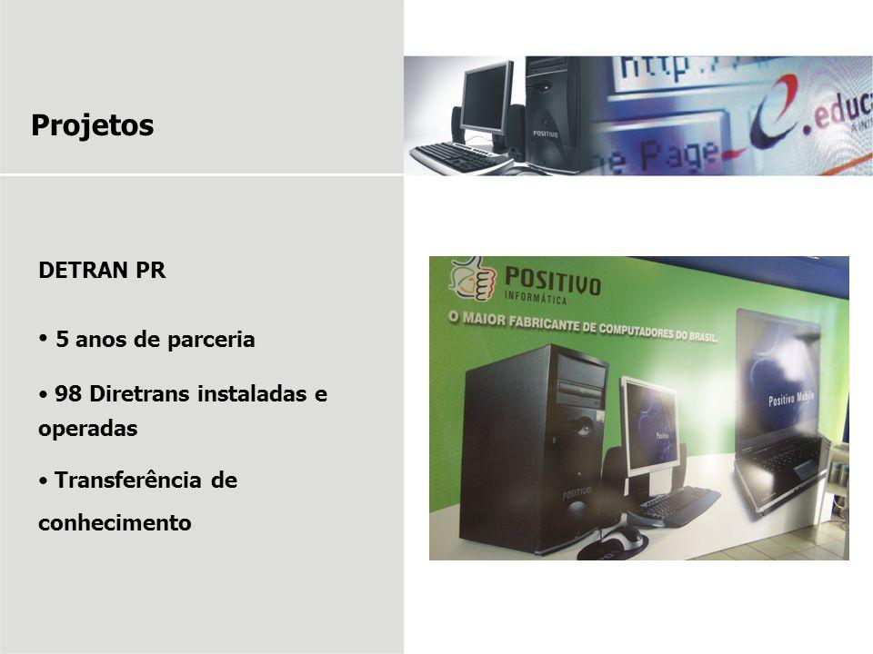 Projetos DETRAN PR 5 anos de parceria 98 Diretrans instaladas e operadas Transferência de conhecimento