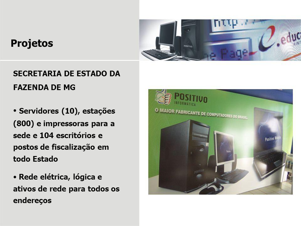 Projetos SECRETARIA DE ESTADO DA FAZENDA DE MG Servidores (10), estações (800) e impressoras para a sede e 104 escritórios e postos de fiscalização em