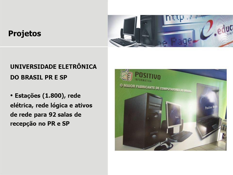Projetos UNIVERSIDADE ELETRÔNICA DO BRASIL PR E SP Estações (1.800), rede elétrica, rede lógica e ativos de rede para 92 salas de recepção no PR e SP