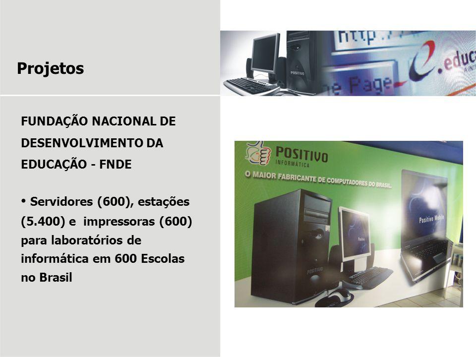 Projetos FUNDAÇÃO NACIONAL DE DESENVOLVIMENTO DA EDUCAÇÃO - FNDE Servidores (600), estações (5.400) e impressoras (600) para laboratórios de informáti