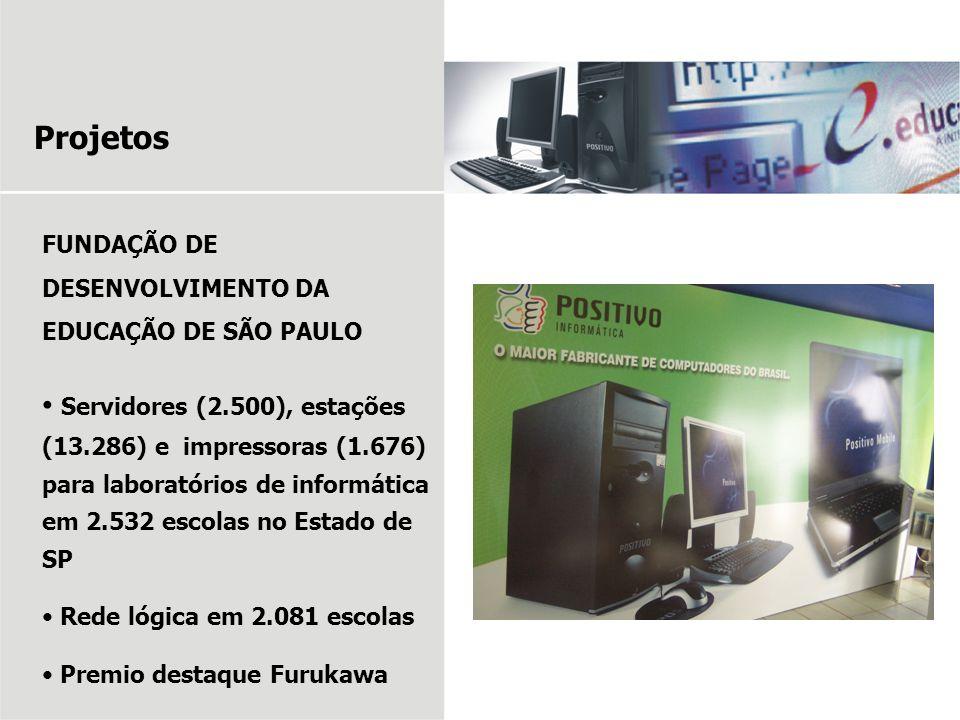 Projetos FUNDAÇÃO DE DESENVOLVIMENTO DA EDUCAÇÃO DE SÃO PAULO Servidores (2.500), estações (13.286) e impressoras (1.676) para laboratórios de informá
