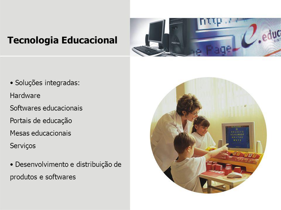 Soluções integradas: Hardware Softwares educacionais Portais de educação Mesas educacionais Serviços Desenvolvimento e distribuição de produtos e soft