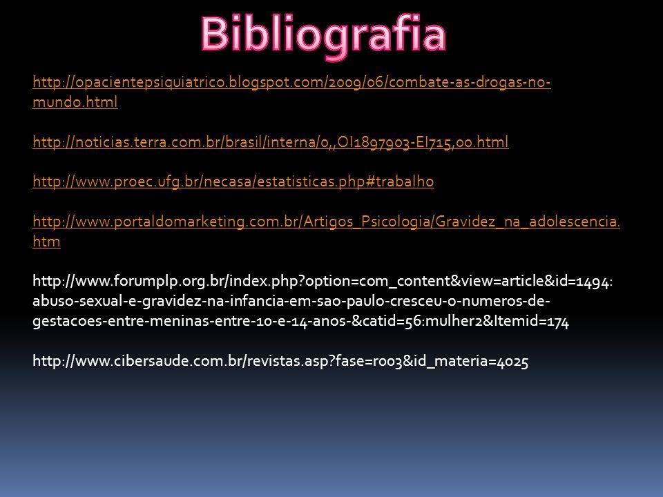 http://opacientepsiquiatrico.blogspot.com/2009/06/combate-as-drogas-no- mundo.html http://noticias.terra.com.br/brasil/interna/0,,OI1897903-EI715,00.html http://www.proec.ufg.br/necasa/estatisticas.php#trabalho http://www.portaldomarketing.com.br/Artigos_Psicologia/Gravidez_na_adolescencia.