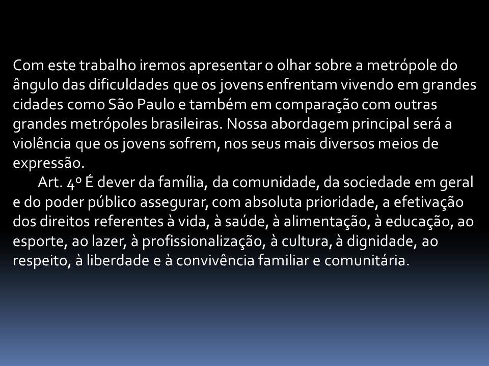 Com este trabalho iremos apresentar o olhar sobre a metrópole do ângulo das dificuldades que os jovens enfrentam vivendo em grandes cidades como São Paulo e também em comparação com outras grandes metrópoles brasileiras.