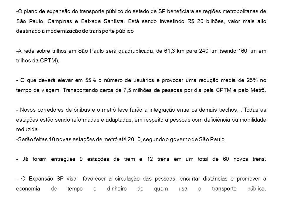-O plano de expansão do transporte público do estado de SP beneficiara as regiões metropolitanas de São Paulo, Campinas e Baixada Santista. Está sendo