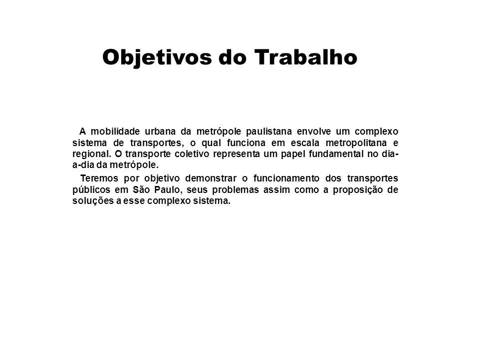 Objetivos do Trabalho A mobilidade urbana da metrópole paulistana envolve um complexo sistema de transportes, o qual funciona em escala metropolitana
