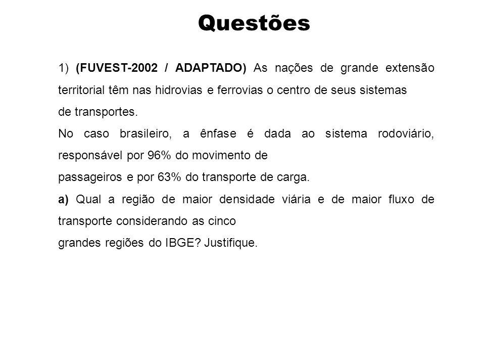 Questões 1) (FUVEST-2002 / ADAPTADO) As nações de grande extensão territorial têm nas hidrovias e ferrovias o centro de seus sistemas de transportes.
