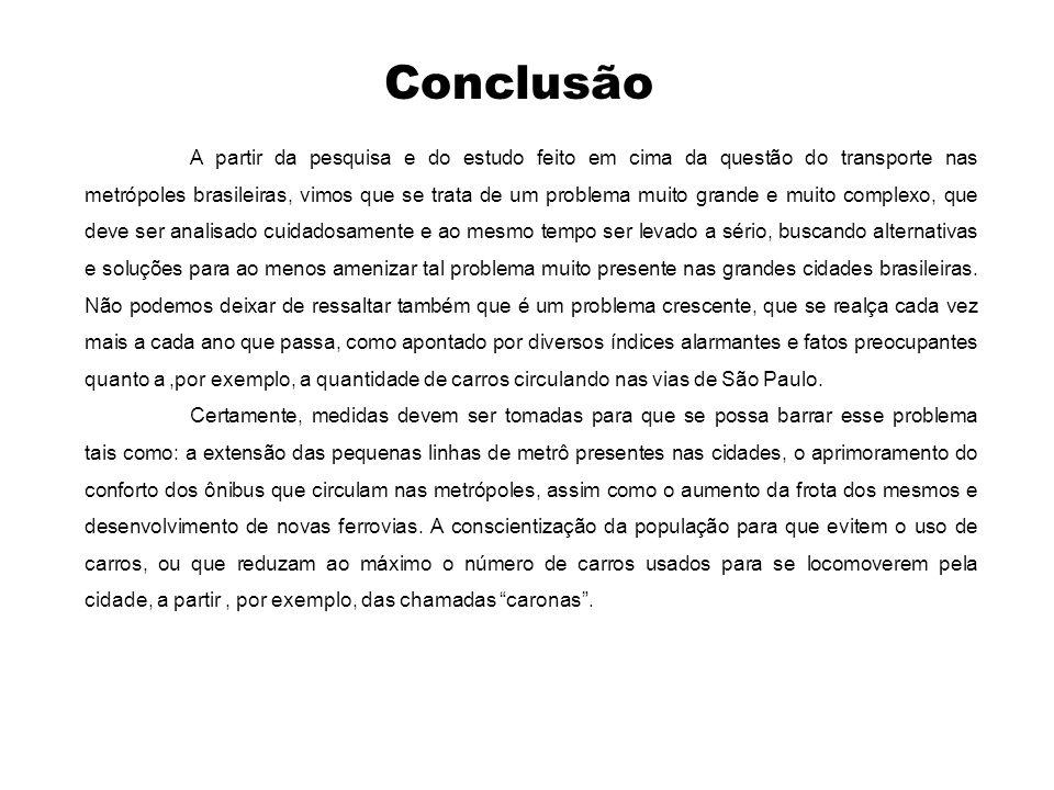 Conclusão A partir da pesquisa e do estudo feito em cima da questão do transporte nas metrópoles brasileiras, vimos que se trata de um problema muito