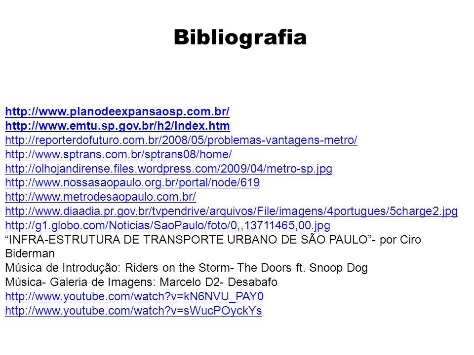 Bibliografia http://www.planodeexpansaosp.com.br/ http://www.emtu.sp.gov.br/h2/index.htm http://reporterdofuturo.com.br/2008/05/problemas-vantagens-me