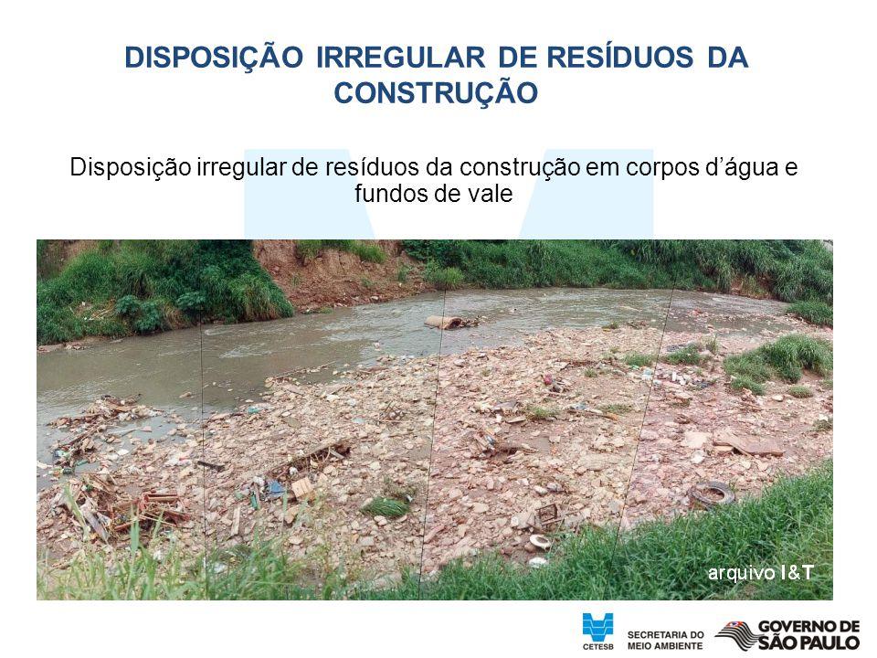 Disposição irregular de resíduos da construção em corpos dágua e fundos de vale DISPOSIÇÃO IRREGULAR DE RESÍDUOS DA CONSTRUÇÃO