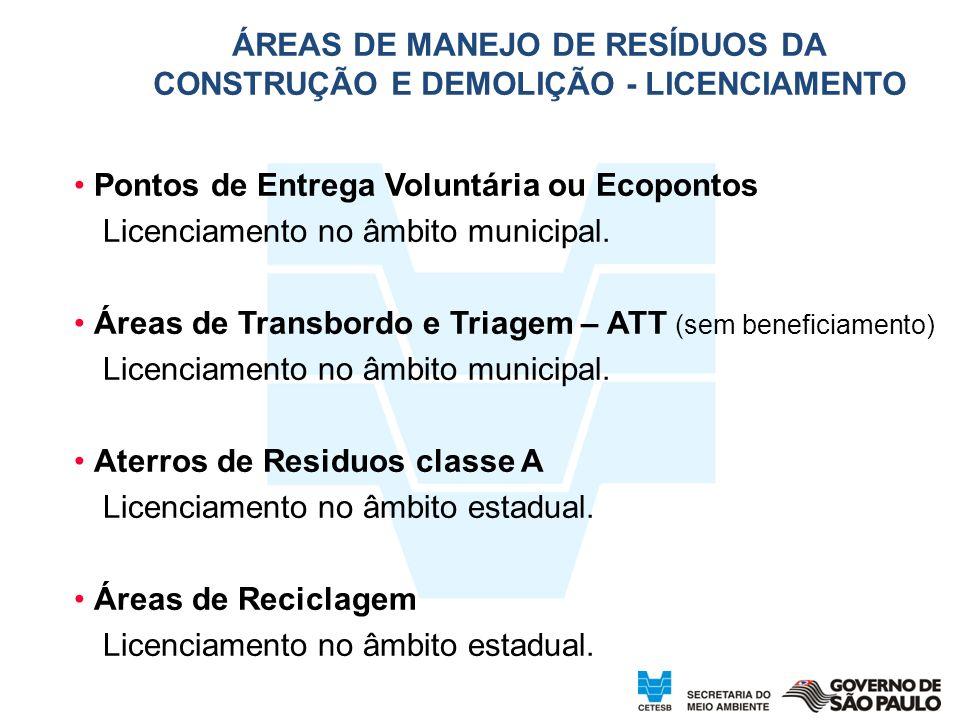 Pontos de Entrega Voluntária ou Ecopontos Licenciamento no âmbito municipal. Áreas de Transbordo e Triagem – ATT (sem beneficiamento) Licenciamento no