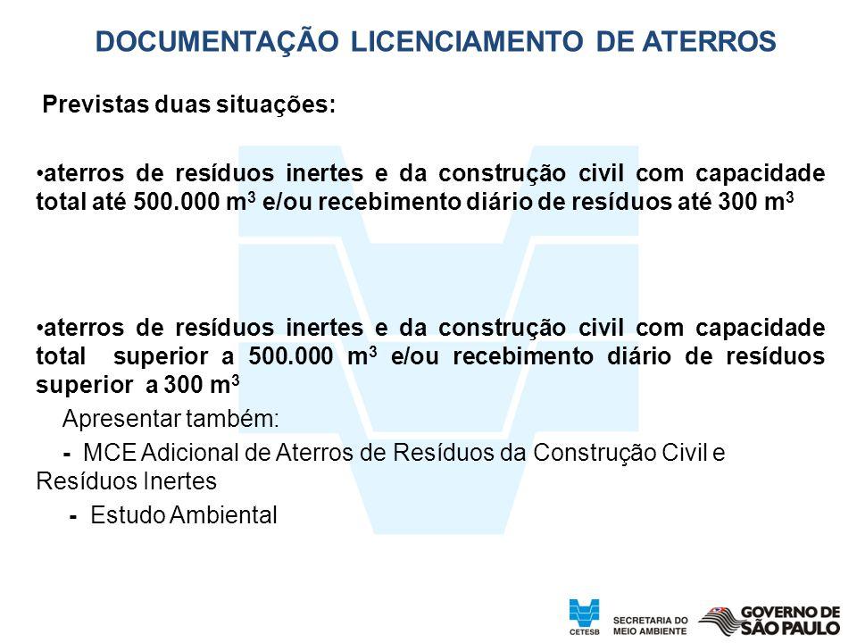 DOCUMENTAÇÃO LICENCIAMENTO DE ATERROS Previstas duas situações: aterros de resíduos inertes e da construção civil com capacidade total até 500.000 m 3