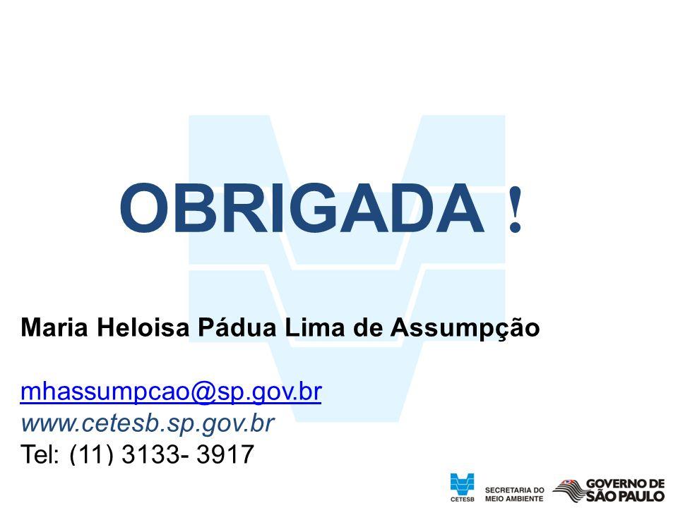 37 OBRIGADA ! Maria Heloisa Pádua Lima de Assumpção mhassumpcao@sp.gov.br www.cetesb.sp.gov.br Tel: (11) 3133- 3917