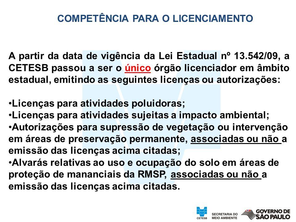 4 COMPETÊNCIA PARA O LICENCIAMENTO A partir da data de vigência da Lei Estadual nº 13.542/09, a CETESB passou a ser o único órgão licenciador em âmbit