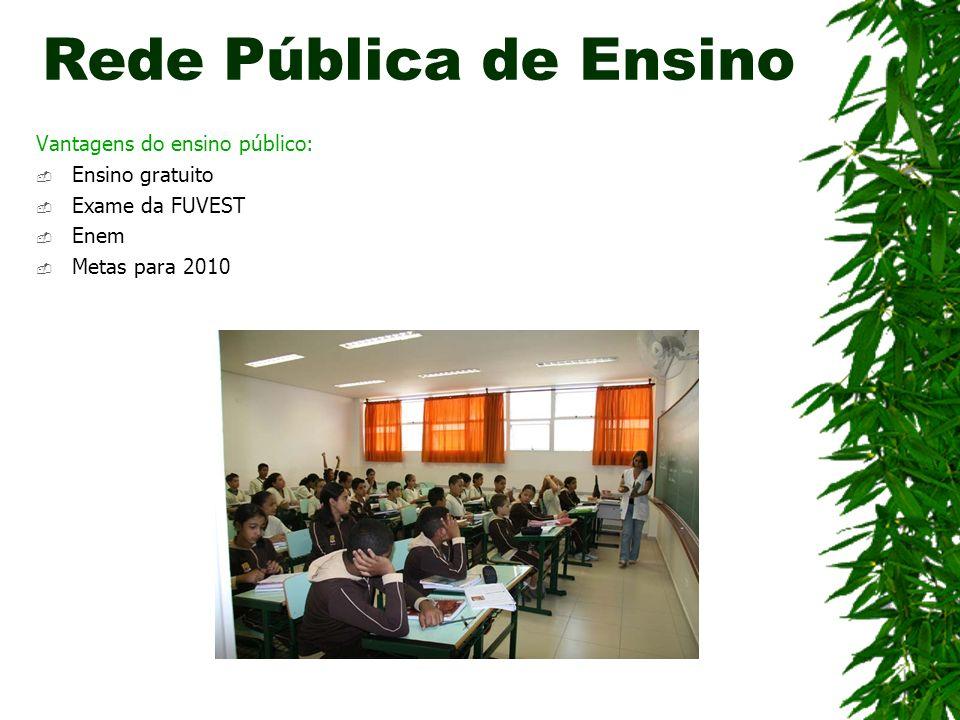 Vantagens do ensino público: Ensino gratuito Exame da FUVEST Enem Metas para 2010 Rede Pública de Ensino