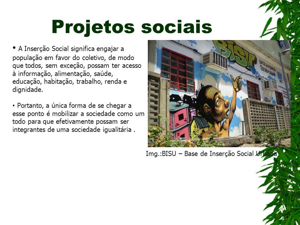 Projetos sociais A Inserção Social significa engajar a população em favor do coletivo, de modo que todos, sem exceção, possam ter acesso à informação, alimentação, saúde, educação, habitação, trabalho, renda e dignidade.
