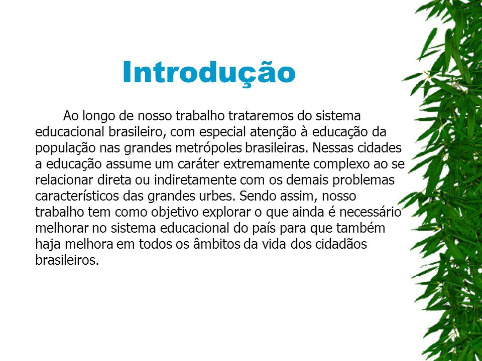 Introdução Ao longo de nosso trabalho trataremos do sistema educacional brasileiro, com especial atenção à educação da população nas grandes metrópoles brasileiras.